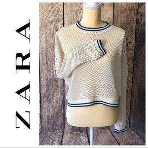 ZARA TRAFALUC Fishnet sweatshirt Ivory Size Small